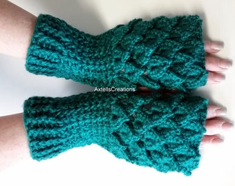 Green Crochet Dragon Gloves, Fingerless Gloves, Mermaid Gloves, Dragon Scale Mittens, Wrist Warmers, Cuff Texting Gauntlets Knit Gloves