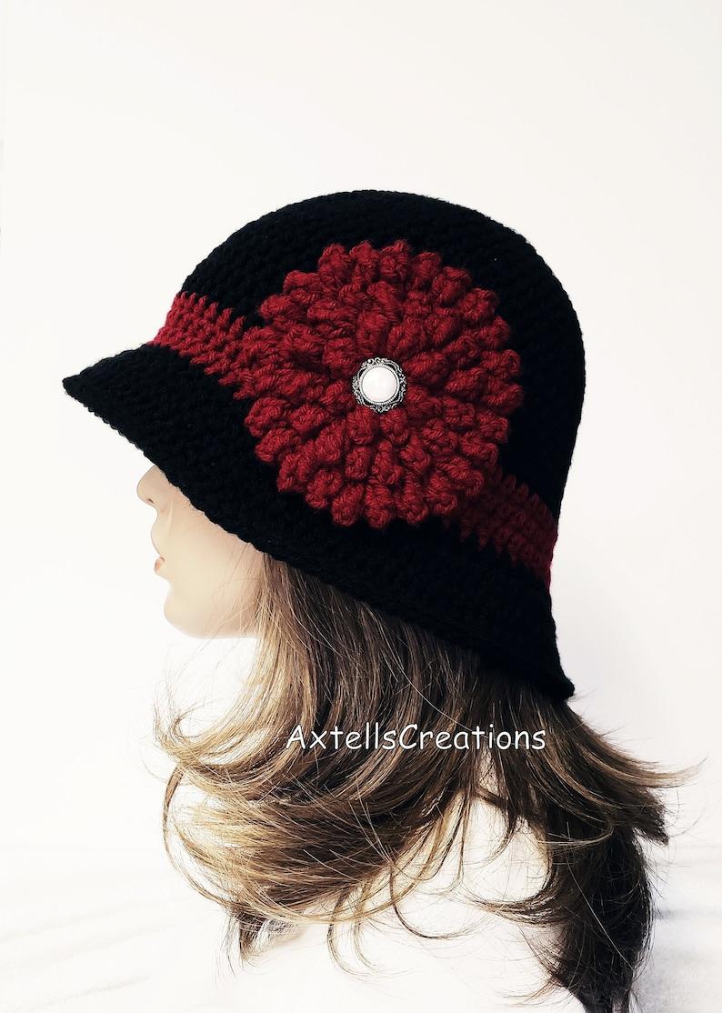 f61d0d45e Black Crochet Womens 1920s Bucket Cloche Hat, Womens Custom Winter Hat with  Flower, Womens 1920s Vintage Style Hat, 1920s Retro Boho Hats