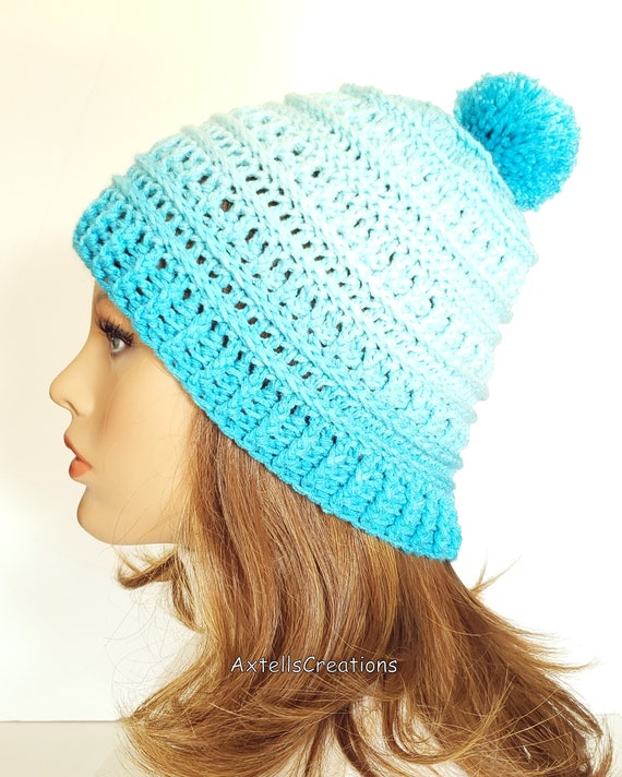 1857ca06553 Blue Ombre Pom Pom Winter Ski Hat for Women Crochet Womens
