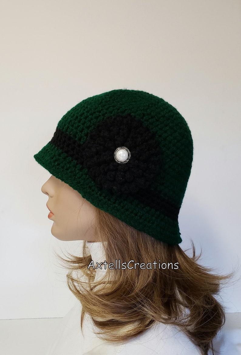 089647695fb Green Womens 1920s Flapper Bucket Cloche Crochet Custom