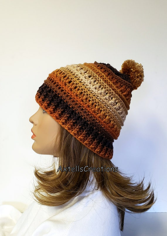 Brown Ombre Winter Hat with Pom Pom Crochet Mens Winter  160137289c7