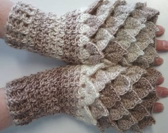 Cream Crochet Dragon Gloves, Fingerless Gloves, Mermaid Gloves, Dragon Scale Mittens, Wrist Warmers, Cuff Texting Gauntlets Knit Gloves