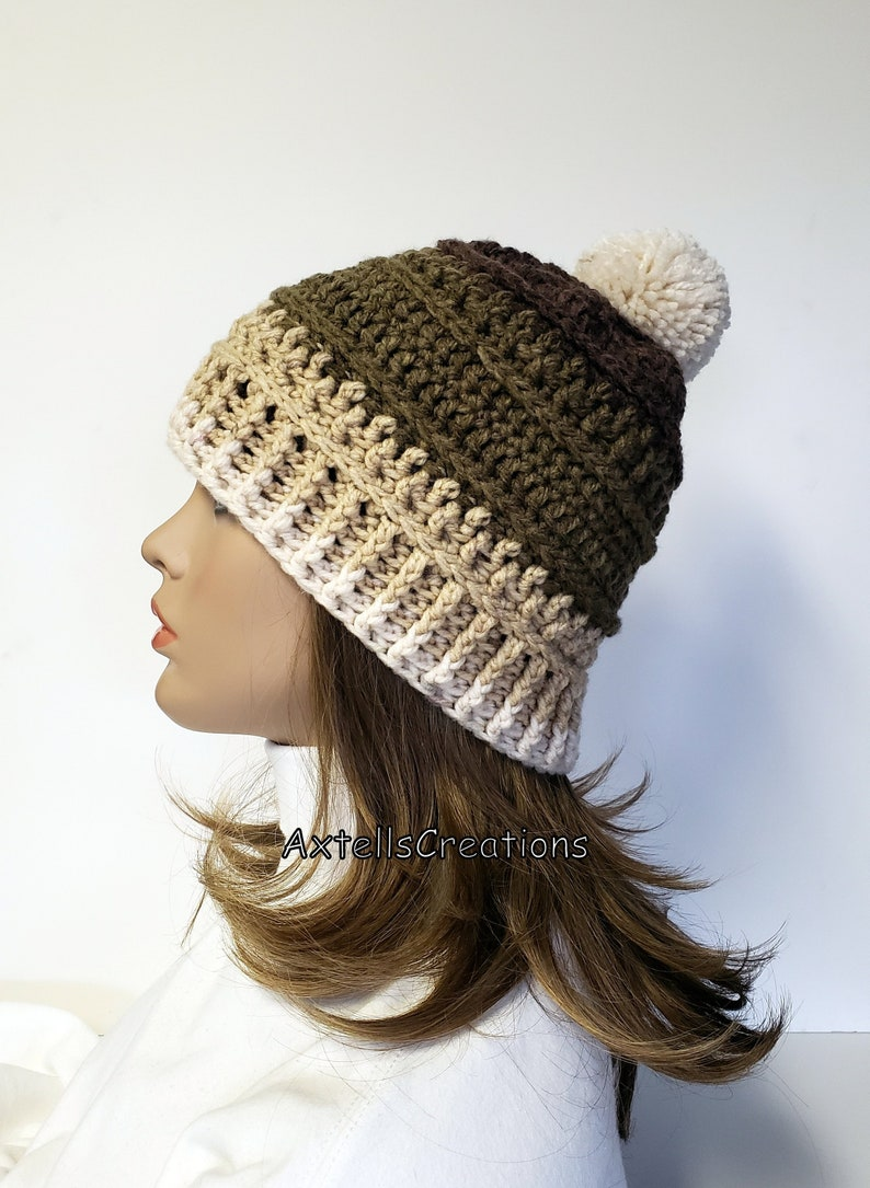 Brown Striped Pom Pom Winter Ski Hat Crochet Mens Winter  6f4a471a742