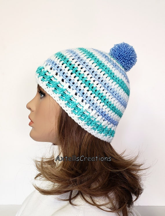 Striped Pom Pom Ski Winter Hat Crochet Winter Pom Pom Hat for  71d8e21f7967