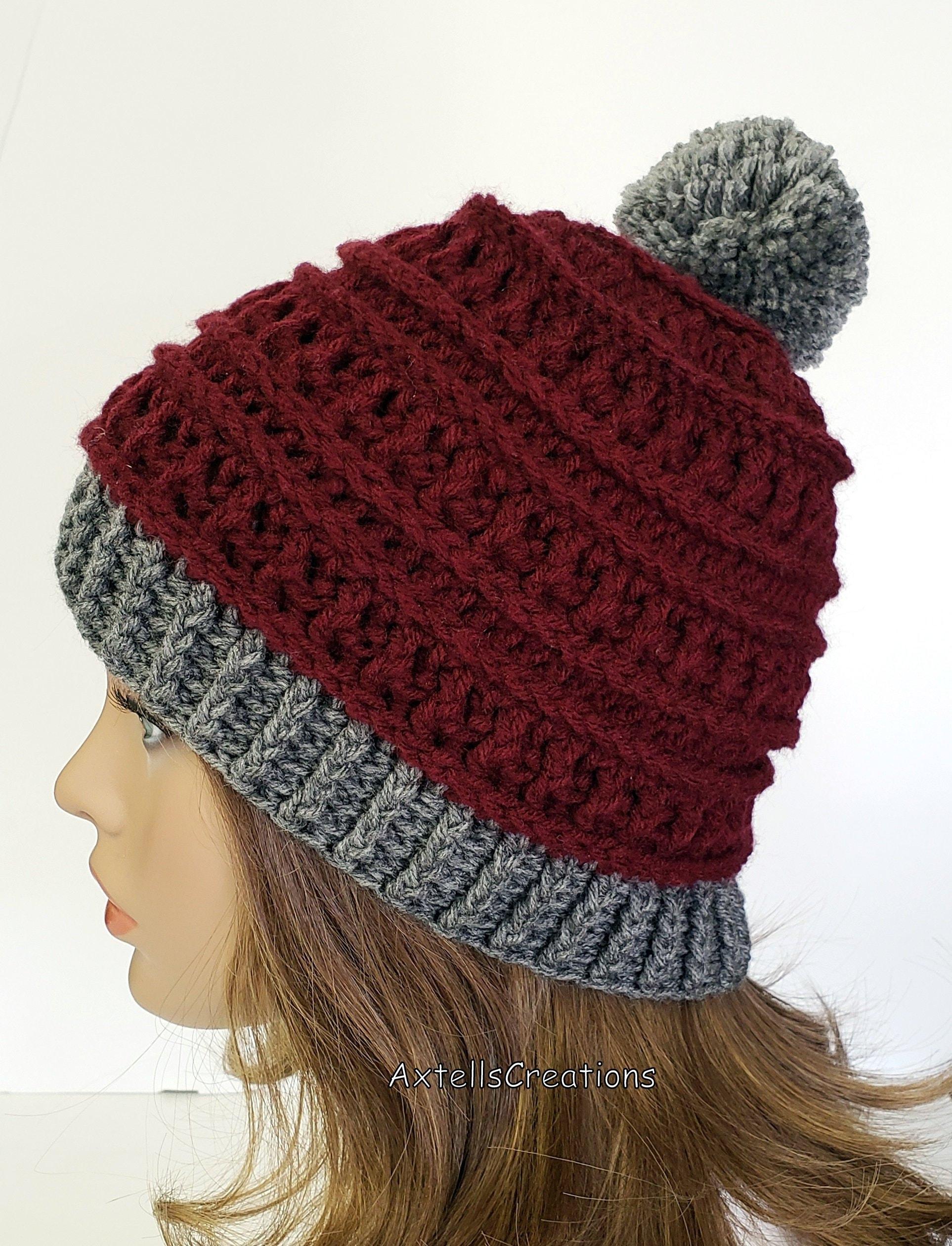 7e85639cb2675 Red Winter Ski Hat With Gray Pom Pom Crochet Womens Winter