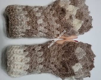 Brown Crochet Dragon Gloves, Fingerless Gloves, Mermaid Gloves, Dragon Scale Mittens, Wrist Warmers, Cuff Texting Gauntlets Knit Gloves