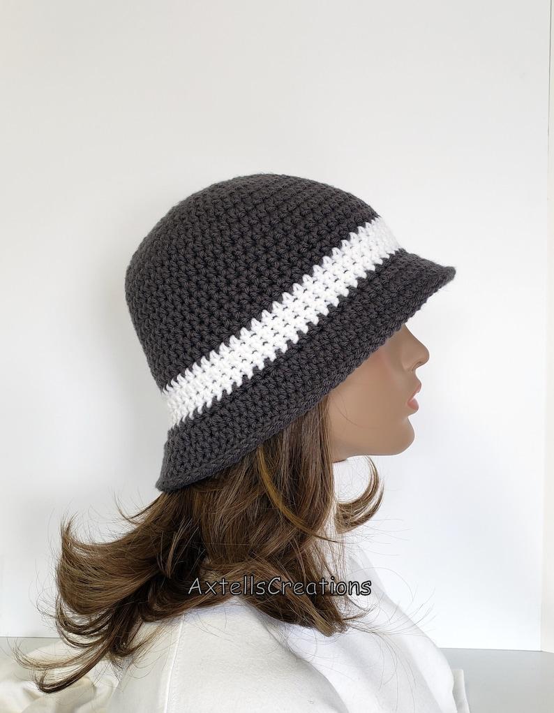 Crochet Womens Winter Hat with Flower Gray Average 1920s Flapper Bucket Cloche Boho Hat Knit Womens 1920s Vintage Style Bucket Hat