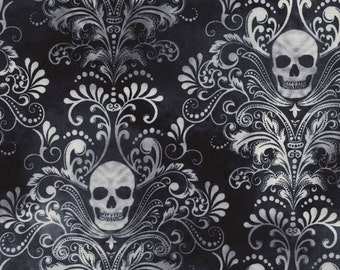 Timeless Treasures - Black Skull Damask - Fabric by the Yard