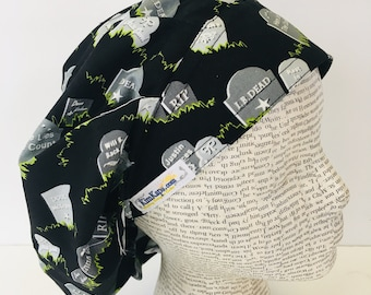 3bed9362e4b Traditional Bouffant Scrub Cap with a white fabric and flowers