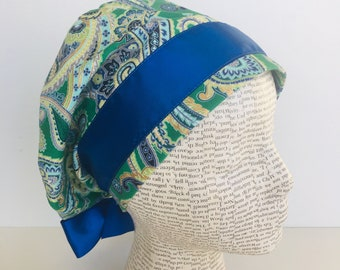 European Ribbon Scrub Cap with paisleys in green blue and gold highlights  with a matching blue satin ribbon d691796b81cb
