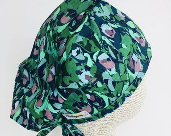 Men's Scrub Cap scrub hat with a blue and green pattern