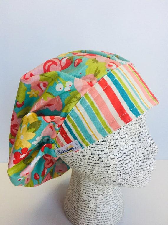 55065dedcd7 Traditional Bouffant Scrub Cap scrub hat with a light blue