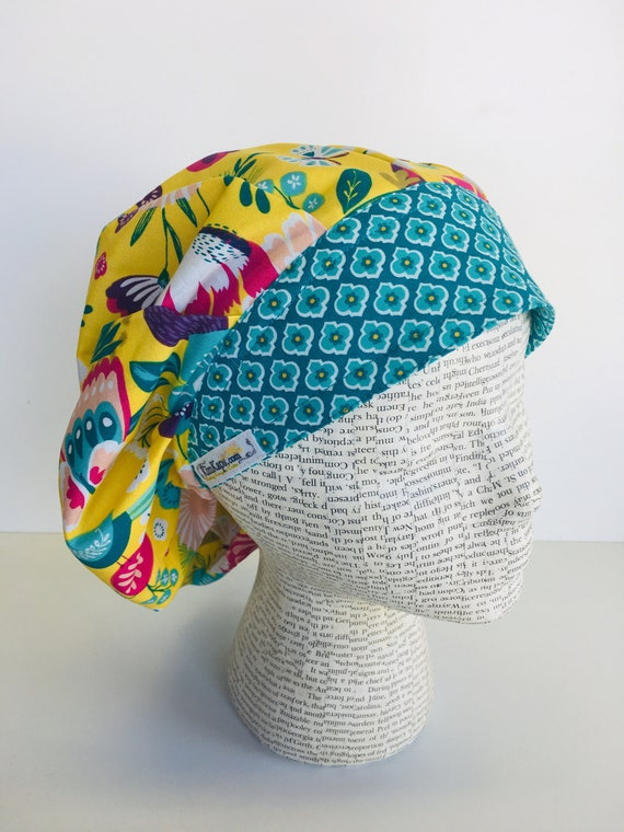 3e91dde733f Traditional Bouffant Scrub Cap with a yellow fabric with