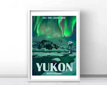Retro Travel Print: Yukon, See the Light Side