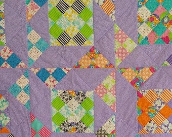 Purple Daisies, Bed Quilt, Pieced, Quilted, Twin Bed,