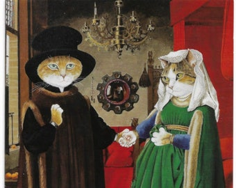 Cat The Arnolfini Marriage after Jan Van Eyck by Susan Herbert Netherlands Holland (1434) cats dreams Bruges Portrait of Giovanni & his wife
