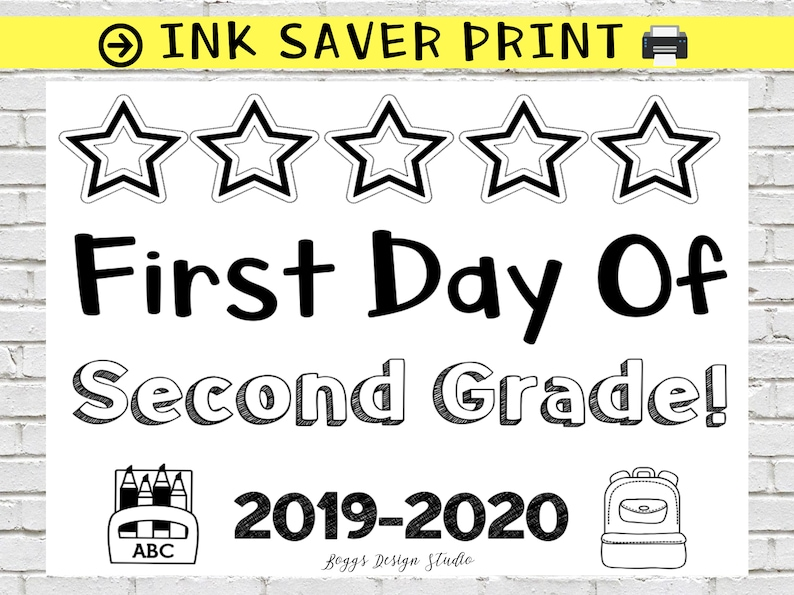 photograph about First Day of Second Grade Printable Sign referred to as Very first Working day of Instant Quality Indicator, Again toward College or university Indicator, Instant Quality Printable Indicator, Black and White Print, Initially Working day 2019 , Prompt Obtain
