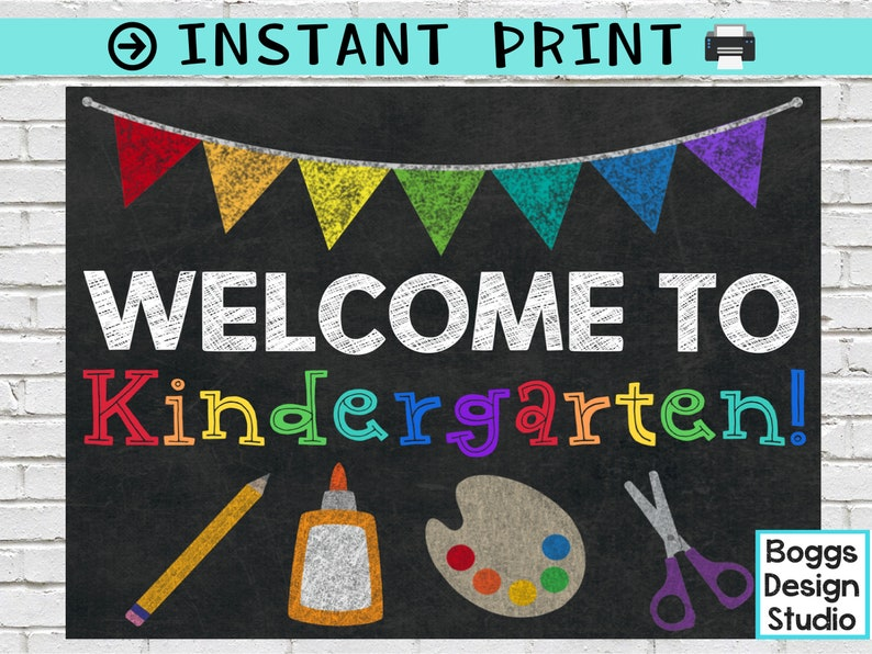 Welcome To Kindergarten Sign Back To School Sign Classroom Etsy