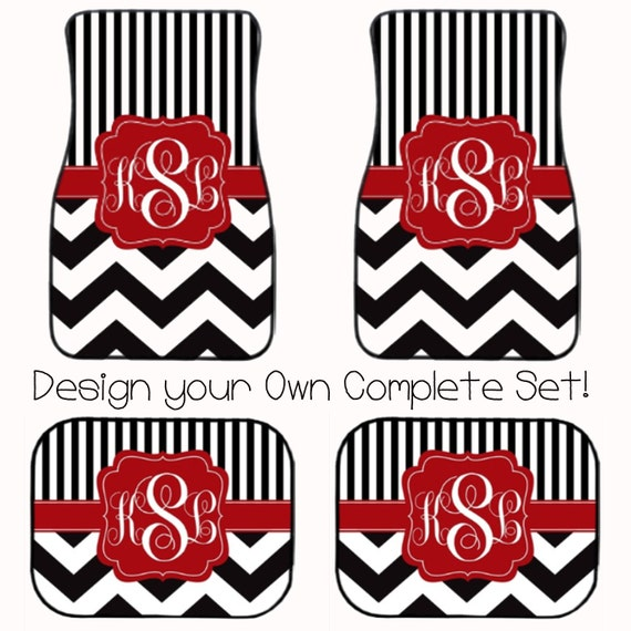 Full Set Monogrammed Car Mats Design Your Own With Chevron Etsy