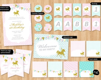 CAROUSEL THEME PACKAGE ~ Personalised birthday package - Chevron - Glitter - Horse - Carousel - Bunting - Printable File