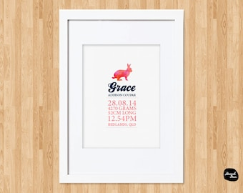 PERSONALISED AUSTRALIAN THEMED Nursery Decor ~ Rabbit ~ Baby Birth Details Print ~ Wall Art ~ Printable Design