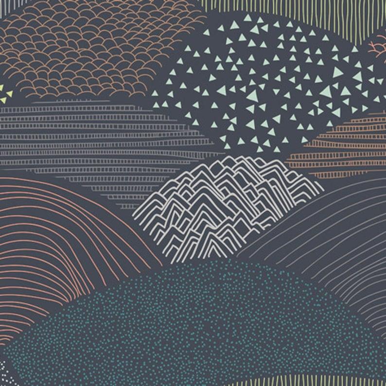 Cotton Fabric by the yard Dark Hills Summit Twilight image 0