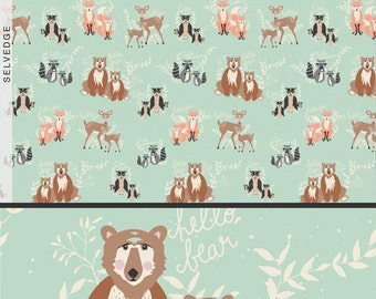 Green Woodland Fabric By the Yard, Mint, Art Gallery, Oh Hello Meadow, Bears, Fox, Owl, Deer, Nursery Cotton Fabric