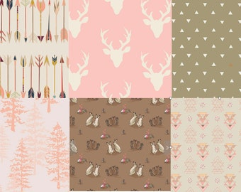 PInk and Brown, Modern Woodland Cotton Fabric Bundle, Rustic Quilting Material, Baby Girl, Antlers, Elk, Deer Head, Kids Room, Triangles