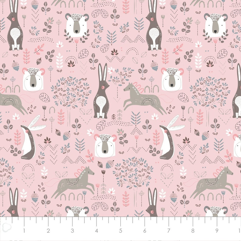 Pretty Little Woods Nursery Quilting Cotton Bunny Rabbits Girl Fabric Bears Camelot Woodland Fabric Bundle Brown Green Pink