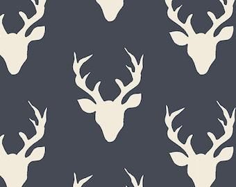 Navy Antler Fabric, Woodland Cotton, Art Gallery, Buck Forest Twilight, Deer Heads, Quilting Weight, Kids Room Nursery
