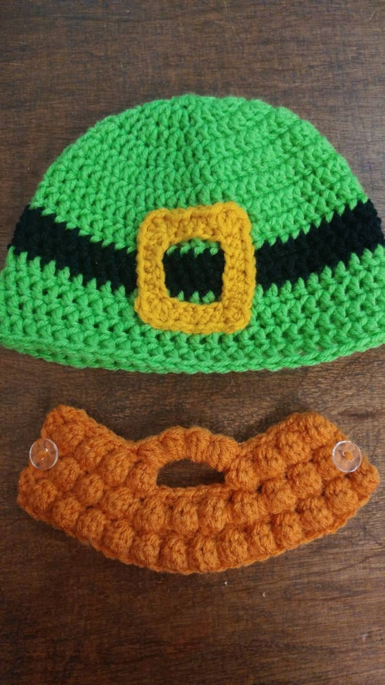 22ec5dd0 Leprechaun hat, bearded hat, crochet beard, ginger beard, st patty's day hat