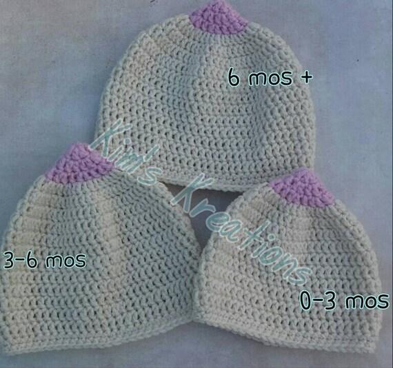6-9 M Great baby shower gift. breastfeeding hat Fun crocheted boobie beanie