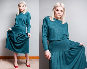 Vintage 1980's | Batwing | Jersey | Pleated | Comfy | Midi | Dress | S/M