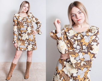Vintage 1960's | Floral | Patterned | MOD | Mid Century | Mini | Dress | M/L