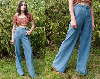 Vintage 1970's | Deadstock | H.I.S. | Bell Bottoms | High Rise | Denim | Jeans | XS