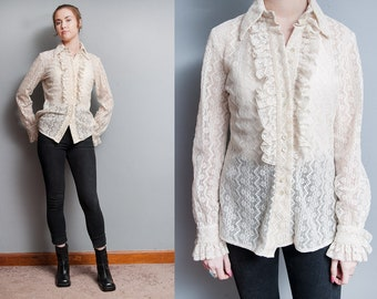 Vintage 1970's | Ivory | Neiman Marcus | Ruffled | Lace | Sheer | Poet | Blouse | M