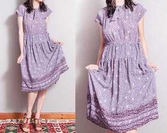 Vintage 1970's | Purple | Floral | Printed | Patterned | Ascot Tie Collar | Dress | M