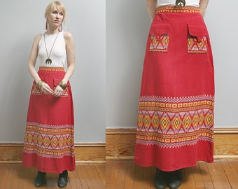 VTG 70's Red Mexican Ethnic Embroidered Long Maxi Skirt - M/L