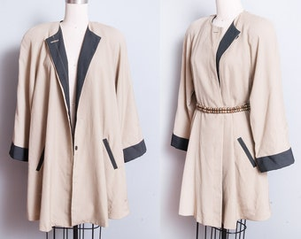 Vintage 1980's | OS | Two Tone | Lightweight | Minimalist | Swing | Coat | L/XL