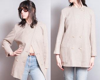 Vintage 1980's | Oversized | Houndstooth | 100% Lambswool | Blazer | Jacket | L