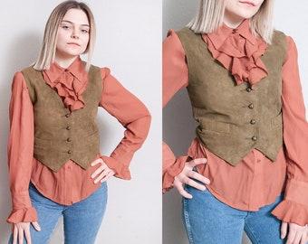 Vintage 1980's | Liz Claiborne | Soft Suede | Fitted | Cropped | Vest | XS