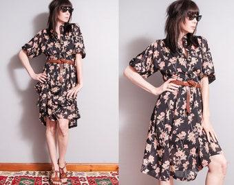 Vintage 1970's   Black   Floral   Printed   Patterned   Sheer   Dress   M