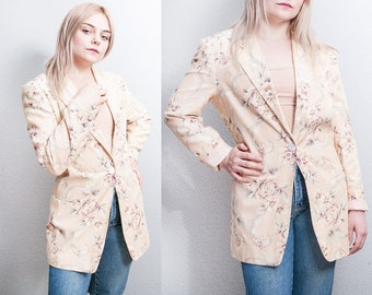 Vintage 1990's | Linen & Cotton | Floral | Lightweight | Long | Blazer | XS/S