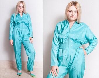 Vintage 1980's | Turquoise | Rhinestone | Parachute | Jumpsuit | Playsuit | Pant Suit | Coveralls| S