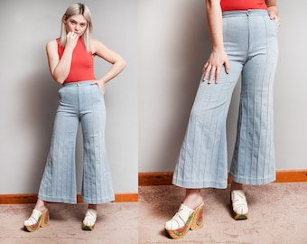 Vintage 1970's | Light Wash | High Rise | Wide Leg | Cropped | Bell Bottom | Flare | Jeans | Denim | XS/S