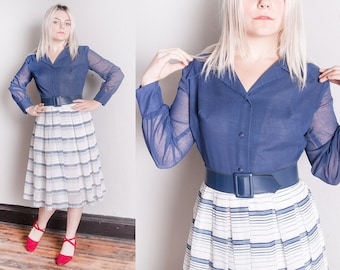 Vintage 1960's | Blue & White | Striped | Fit and Flare | Dress | S