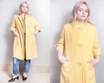 Vintage 1960's | Yellow | Wool | 3/4 Sleeves | Swing | MOD | Coat | M