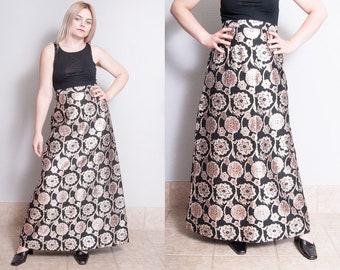 Vintage 1970's | Floral | Metallic | Maxi | Skirt | M