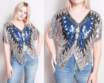 Vintage 1970's | Sequin | Butterfly | Disco | Silk | Top | S/M