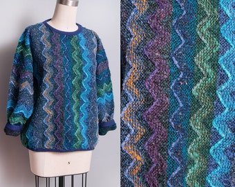 Vintage 1980's | OS | Zig Zag | Pattern | Pullover | Sweater | SML